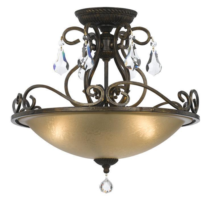 Crystorama 5010-EB-CL-MWP Ashton 3 Light Hand Cut Crystal Bronze Ceiling Mount from Crystorama