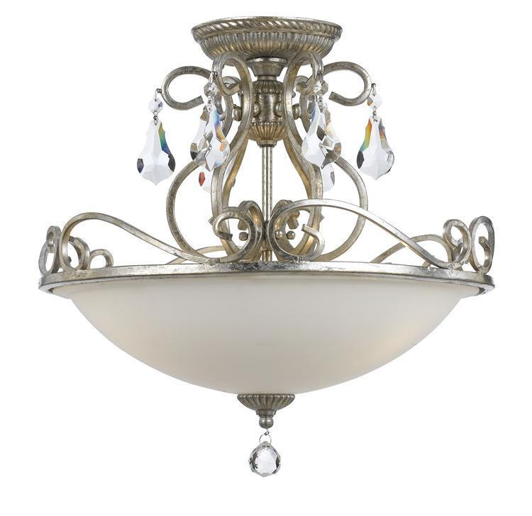 Crystorama 5010-OS-CL-MWP Ashton 3 Light Hand Cut Crystal Silver Ceiling Mount from Crystorama