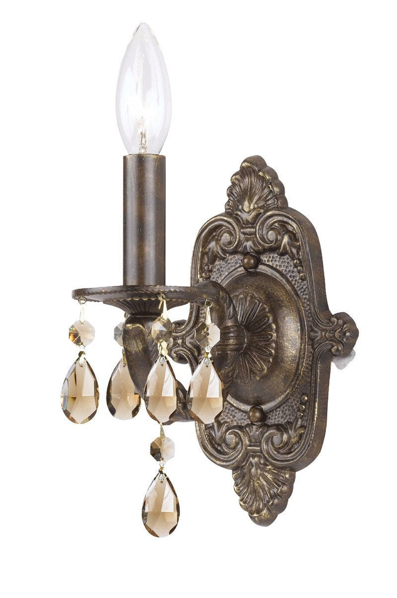Crystorama 5021-VB-GT-MWP 1-Lights Golden Teak Hand Cut Crystal Chandelier - Venetian Bronze from Crystorama