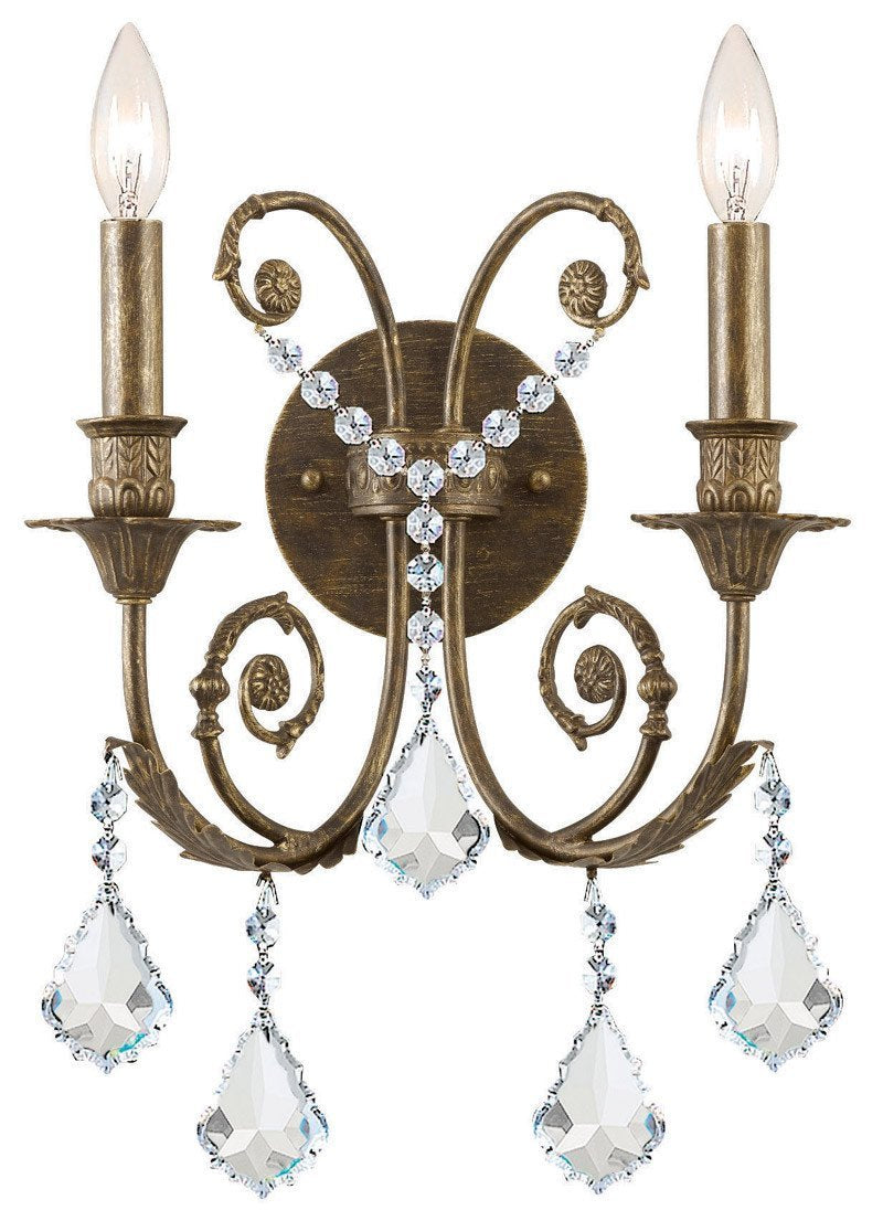 Crystorama 5112-EB-CL-SAQ 2-Lights Clear Swarovski Spectra Crystal Wall Sconce - English Bronze from Crystorama