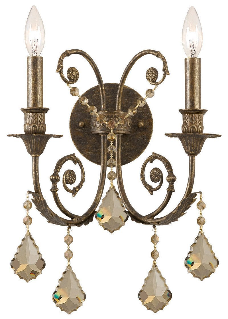 Crystorama 5112-EB-GTS 2-Lights Ornate Wall Sconce Adorned With Golden Teak Swarovski Elements Crystal, English Bronze Finish - English Bronze from Crystorama