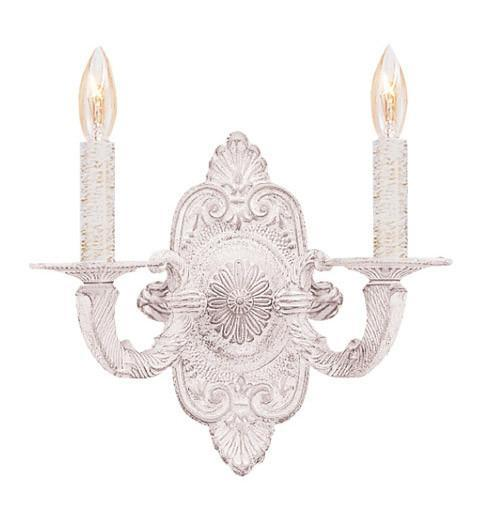 Crystorama 5122-AW 2-Lights Paris Flea Market Natural Wrought Iron Wall Sconce In Antique White - Antique White from Crystorama