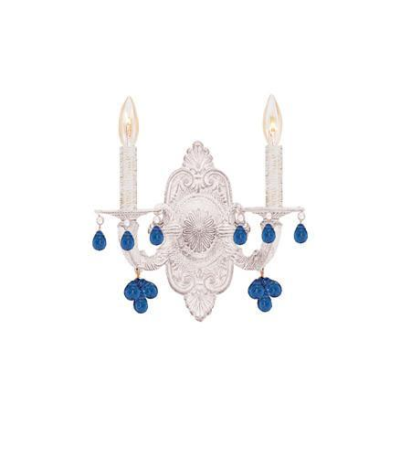 Crystorama 5200-AW-BLUE Paris Market 2 Light Blue Crystal White Sconce from Crystorama