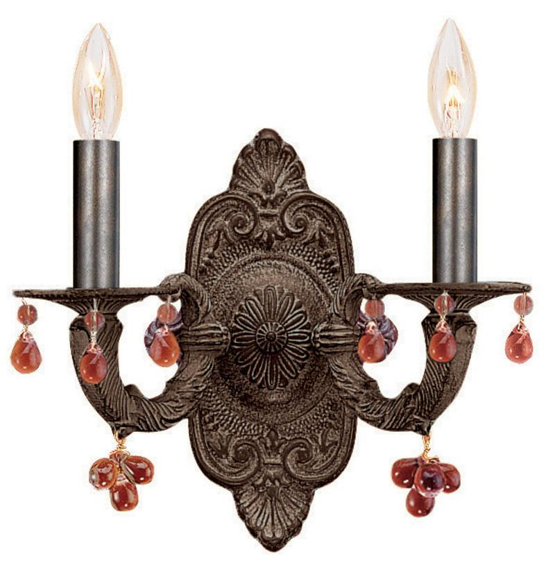 Crystorama 5200-VB-AMBER 2-Lights Sutton Collection Natural Wrought Iron Wall Sconce Accented With Murrano Crystal - Venetian Bronze from Crystorama
