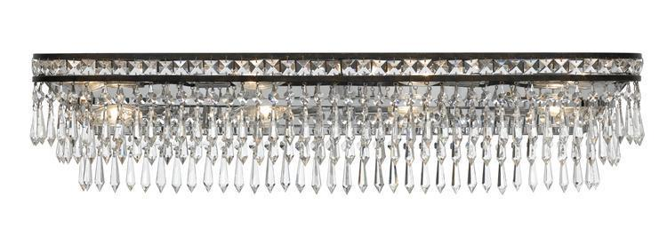 Crystorama 5267-EB-CL-MWP Mercer 8 Light Hand Cut Crystal Bronze Vanity Light from Crystorama