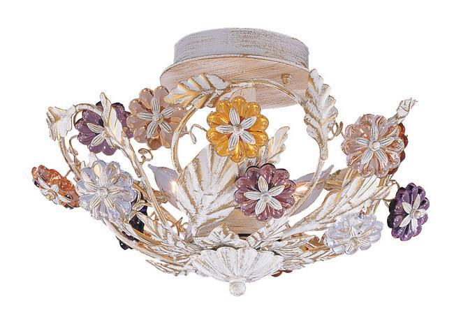Crystorama 5315-AW 3-Lights Retro 24% Lead Crystal Multi Colored Rosette Semi Flush - Antique White from Crystorama