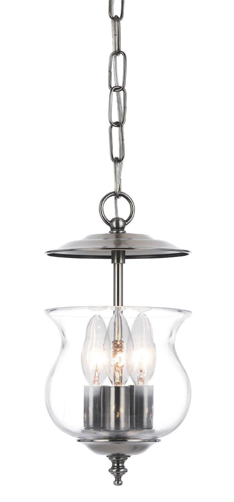 Crystorama 5717-PW 3-Lights Traditional Bell Jar Finished In Pewter. - Pewter from Crystorama
