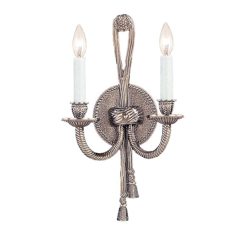 Crystorama 650-PW 2-Lights Ornate Cast Brass Wall Sconce - Pewter from Crystorama
