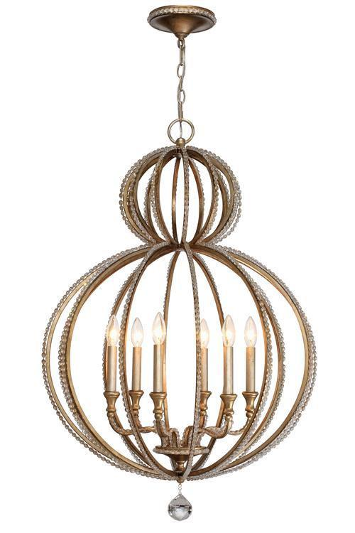 Crystorama 6766-DT Garland 6 Light Distressed Twilight Crystal Beads Chandelier from Crystorama