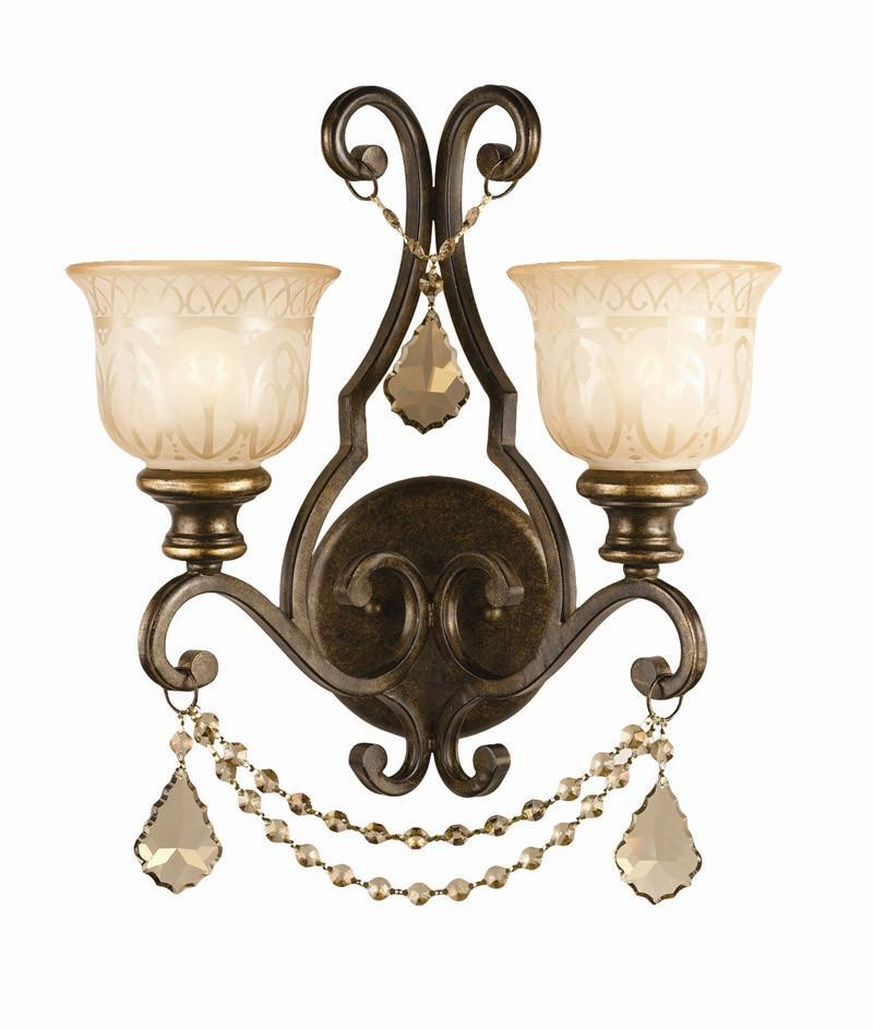 Crystorama 7502-BU-GT-MWP 2-Lights Golden Teak Crystal Draped On A Wrought Iron Wall Sconce Handpainted With A Amber Glass Pattern - Bronze Umber from Crystorama