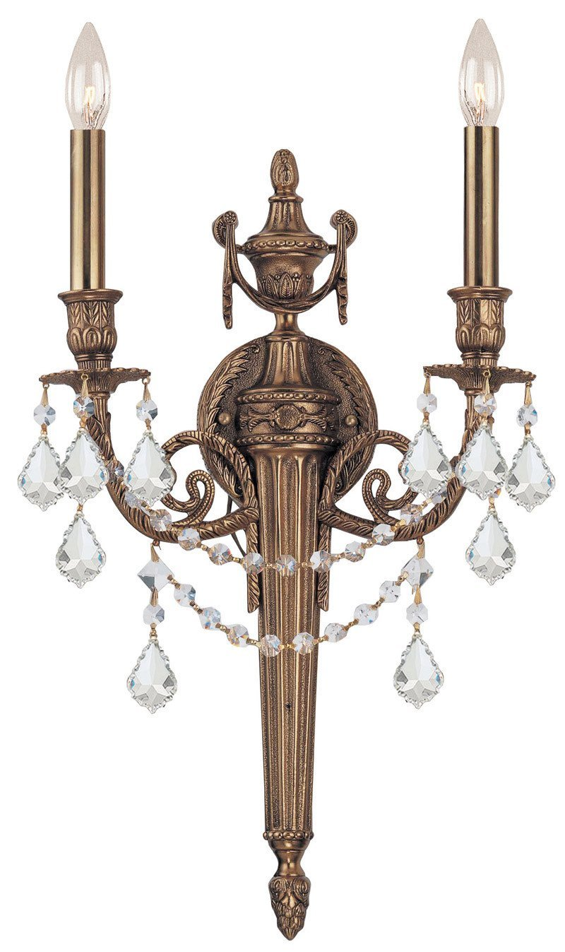 Crystorama 752-MB-CL-MWP 2-Lights Ornate Cast Wall Sconce With Clear Hand Cut Crystal - Matte Brass from Crystorama