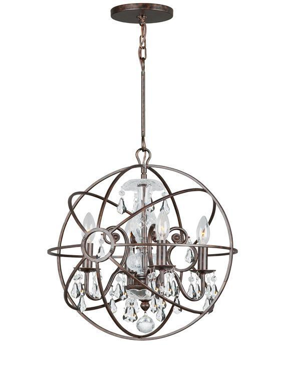 Crystorama 9025-EB-CL-MWP Solaris 4 Light Clear Crystal Bronze Mini Chandelier from Crystorama
