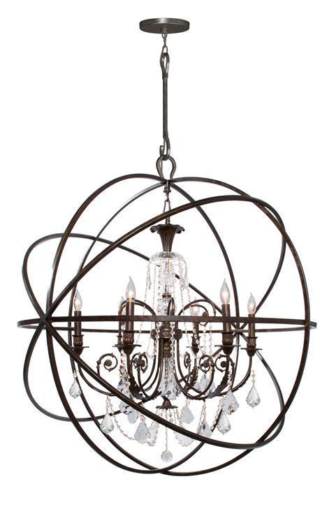 Crystorama 9219-EB-CL-SAQ Solaris 6 Light Spectra Crystal Bronze Sphere Chandelier from Crystorama