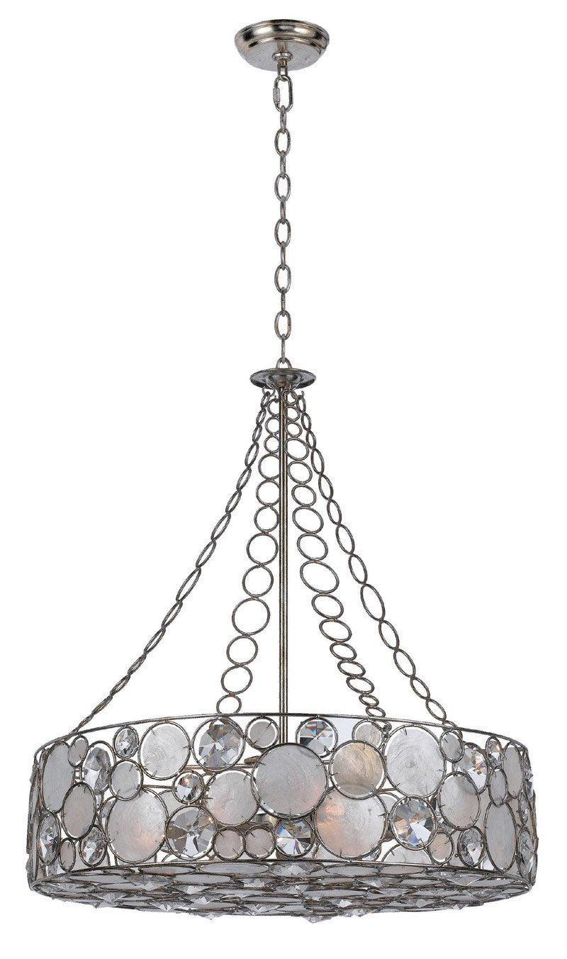 Crystorama Chandelier, large pendant. Antique Silver finish pared with Clear crystal and Capiz shell accents. 8 Lights - Antique Sliver - 528-SA from Crystorama
