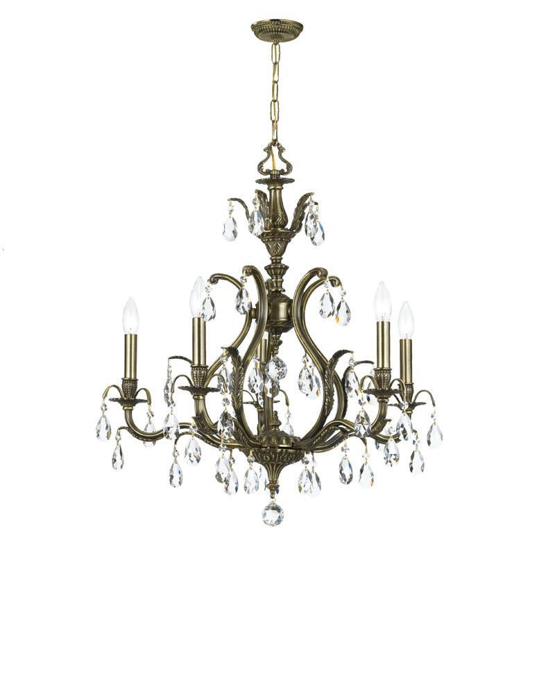 Crystorama Clear Hand Cut Crystal Chandelier 5 Lights - Antique Brass - 5565-AB-CL-MWP from Crystorama