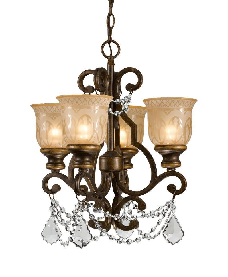 Crystorama Clear Hand cut Crystal Draped on a Wrought Iron Chandelier Handpainted with a Amber Glass Pattern 4 Lights - Bronze Umber - 7504-BU-CL-MWP from Crystorama