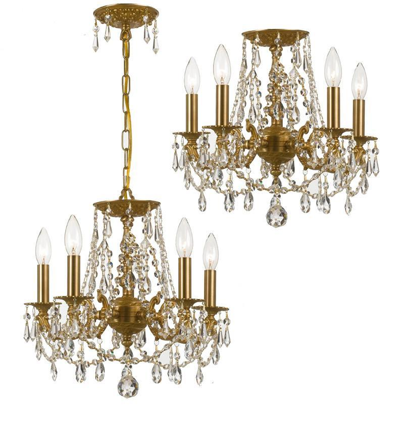 Crystorama Clear Swarovski Elements Wrought Iron Chandelier 5 Lights - Aged Brass - 5545-AG-CL-S from Crystorama
