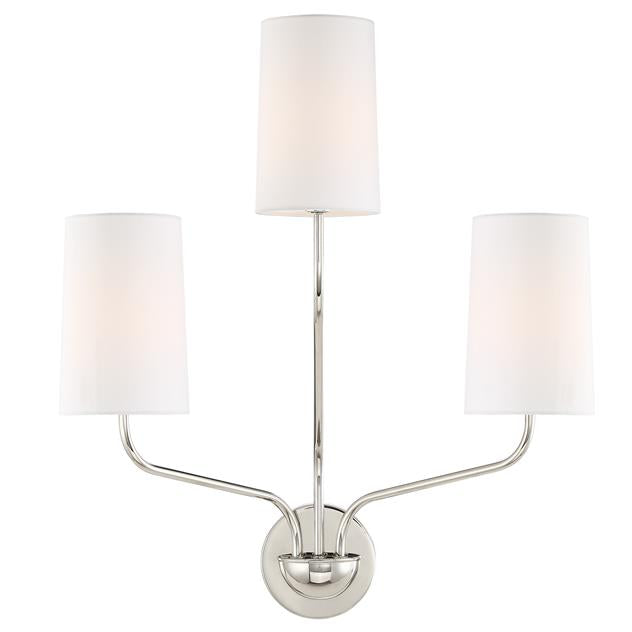 Crystorama Leigh 3 Light Polished Nickel Sconce from Crystorama
