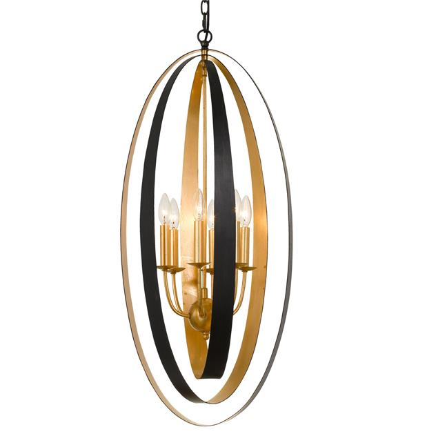 Crystorama Luna 6 Light English Bronze & Antique Gold Pendant from Crystorama