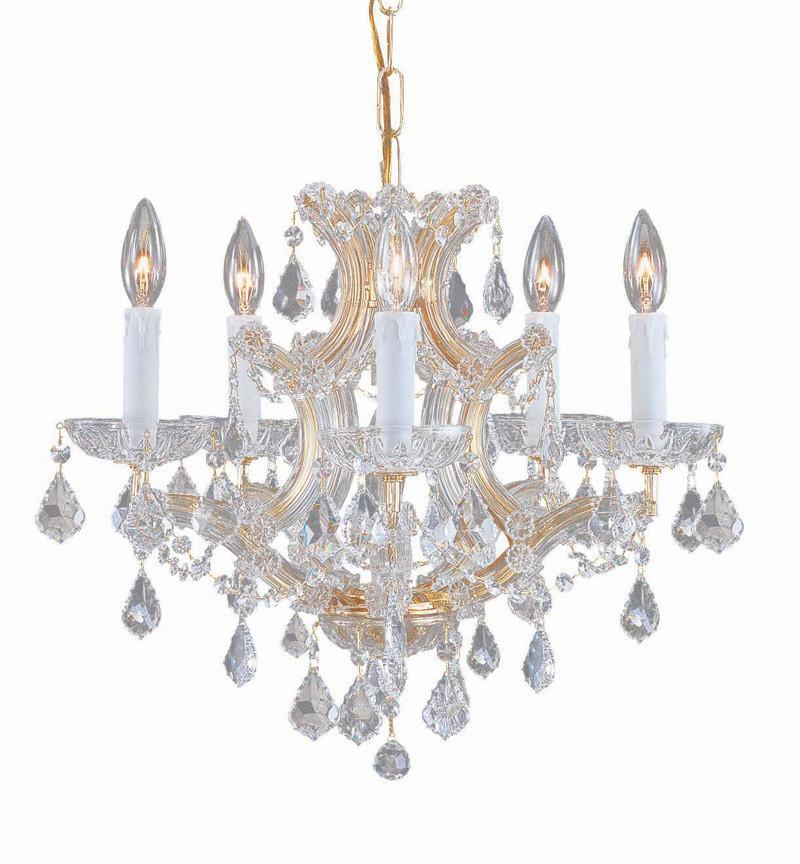 Crystorama Maria Theresa Chandelier Draped in Swarovski Elements Crystal 5 Lights - Gold - 4405-GD-CL-S from Crystorama