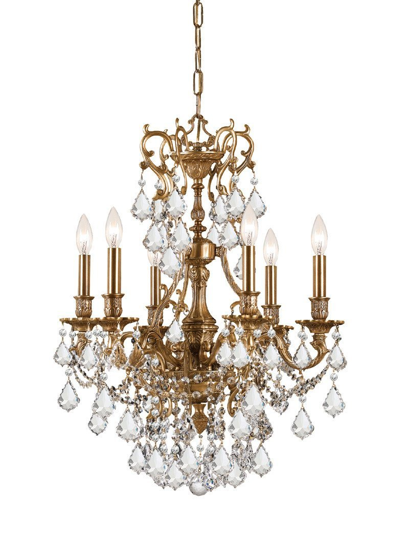 Crystorama Ornate Aged Brass Chandelier Accented with Hand Cut Crystal 6 Lights - Aged Brass - 5146-AG-CL-MWP from Crystorama
