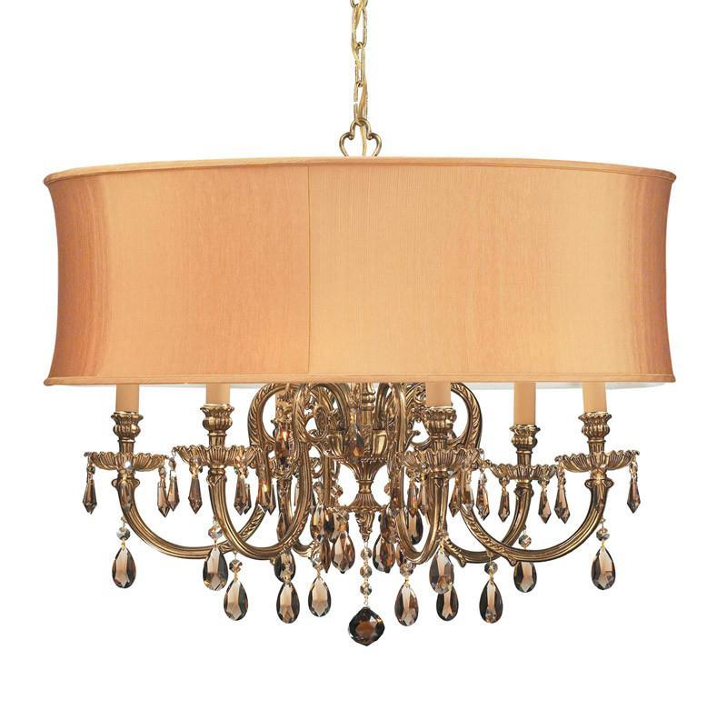 Crystorama Ornate Cast Brass Chandelier Accented with Golden Teak Swarovski Elements Crystal & Harvest Gold Shade 6 Lights - Olde Brass - 2916-OB-SHG- from Crystorama