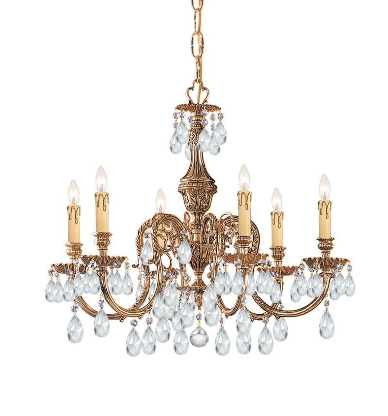 Crystorama Ornate Cast Brass Chandelier Accented with Swarovski Spectra Crystal 6 Lights - Olde Brass - 2906-OB-CL-SAQ from Crystorama