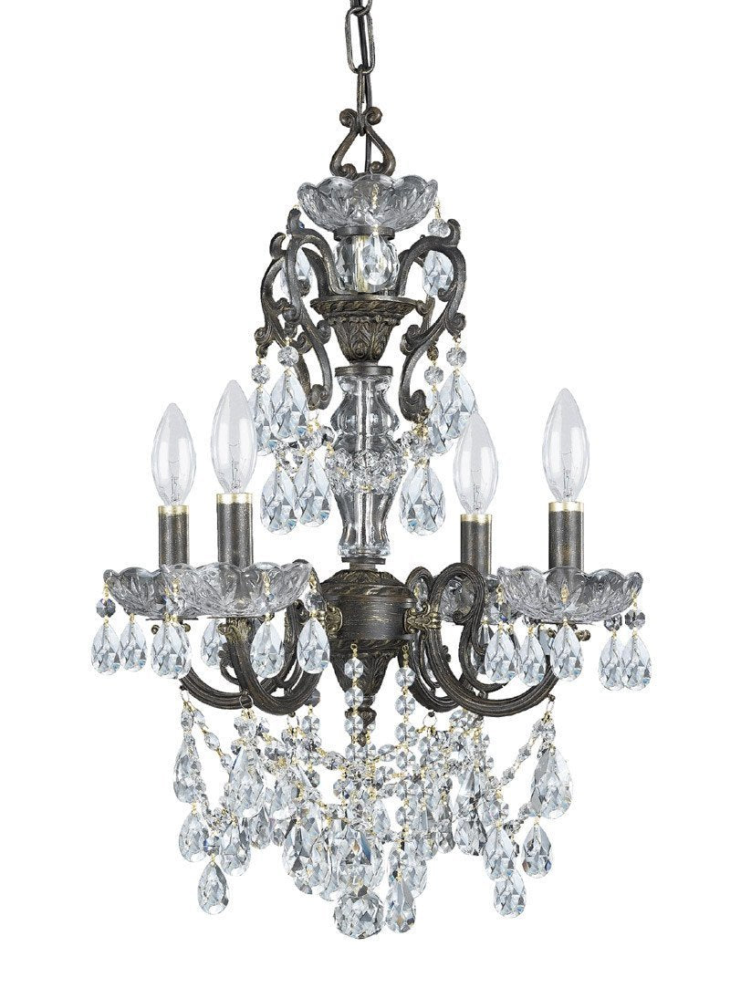 Crystorama Ornate Chandelier Accented with Swarovski Elements Crystal 4 Lights - English Bronze - 5194-EB-CL-S from Crystorama