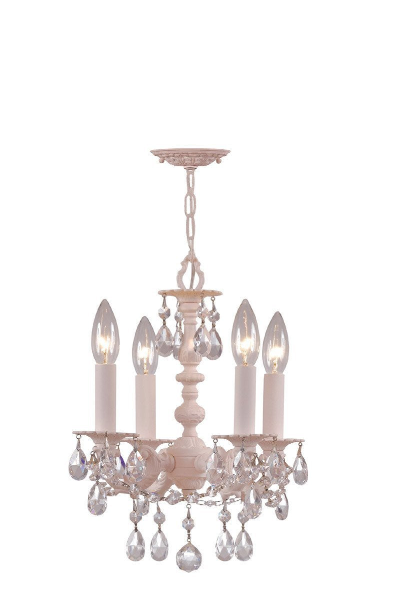 Crystorama Paris Flea Market Blush finish Chandelier Adorned with clear Hand Cut Crystal 4 Lights - Blush - 5514-BH-CL-MWP from Crystorama