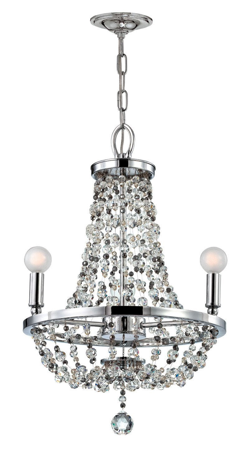 Crystorama Polished chrome chandelier dressed with decorative beading. 3 Lights - Polished Chrome - 1543-CH-MWP from Crystorama