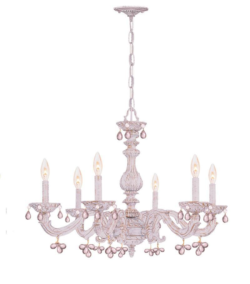 Crystorama Sutton Collection Wrought Iron Chandelier Draped with Rosa Murano Crystal Drops 6 Lights - Antique White - 5226-AW-ROSA from Crystorama