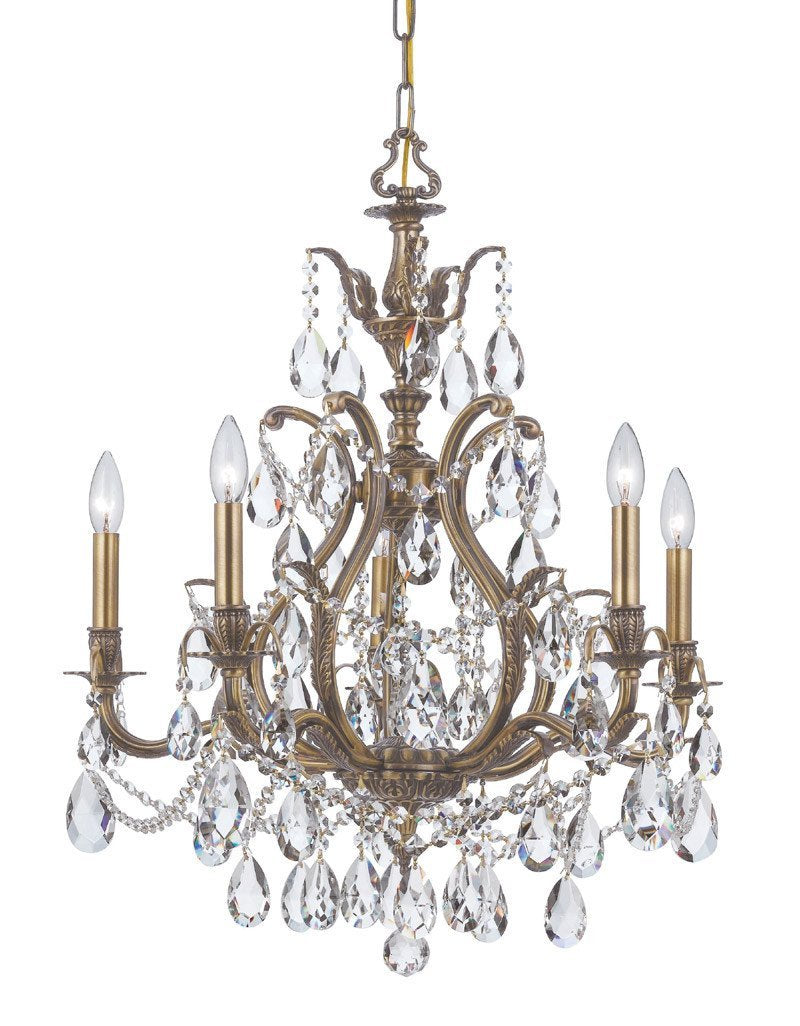 Crystorama Swarovski Spectra Chandelier 5 Lights - Antique Brass - 5575-AB-CL-SAQ from Crystorama