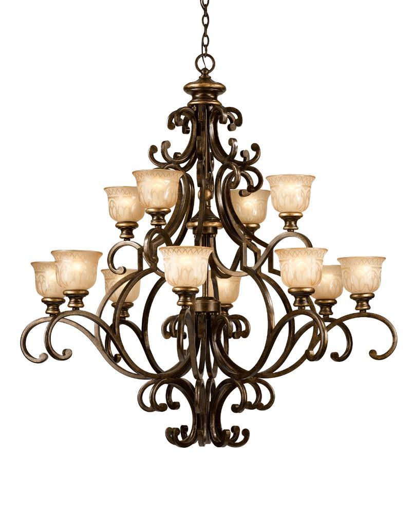 Crystorama Wrought Iron Chandelier Handpainted with a Amber Glass Pattern 12 Lights - Bronze Umber - 7412-BU from Crystorama