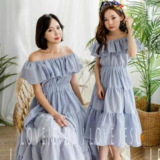 Family Matching Striped Off-Shoulder Midi Sundress from Cuckoo