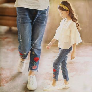 Kids Cropped Embroidered Jeans from Cuckoo
