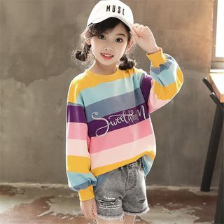 Kids Embroidered Striped Pullover from Cuckoo