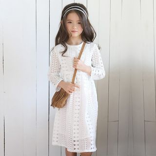 Kids Long-Sleeve Lace Dress from Cuckoo