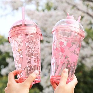 Sakura Print Transparent Drinking Cup with Straw from Cute Essentials