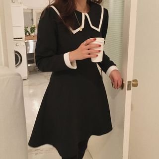 Contrast Trim Long-Sleeve A-Line Dress Black - One Size from Czarine