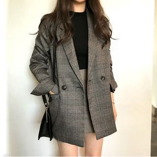 Double-Breasted Plaid Blazer from Czarine