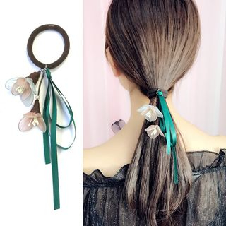 Flower & Ribbon Bow Hair Tie from DEBE