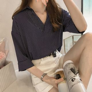 3/4-Sleeve Striped Blouse from Daybreak