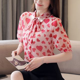 Heart Print Short-Sleeve Tie-Neck Chiffon Blouse from Daybreak