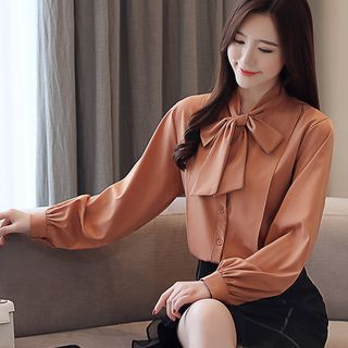 Long-Sleeve Bow Accent Chiffon Blouse from Daybreak