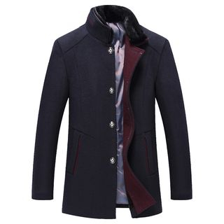 Furry Collar Single-Breasted Coat from Deepwood