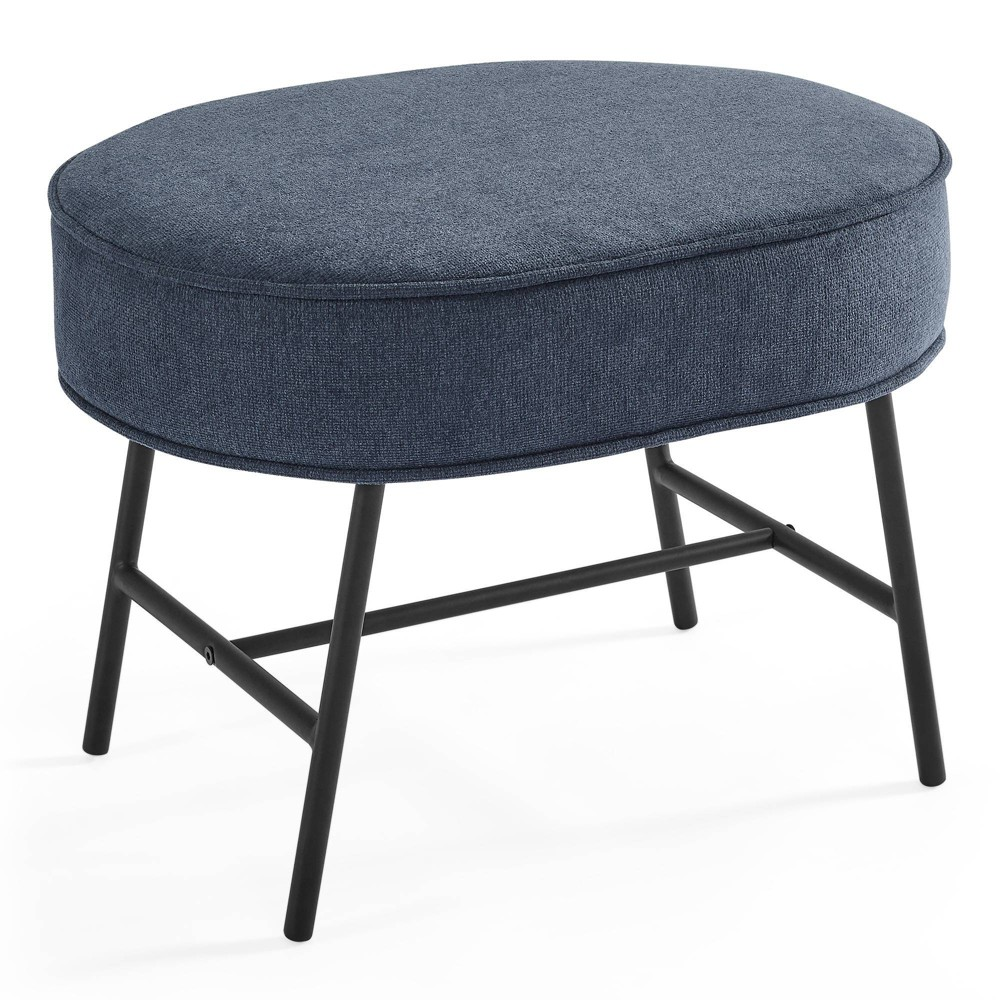 Delta Children Ella Ottoman with LiveSmart Evolve Fabric - Slate Blue/Black Base from Delta Children