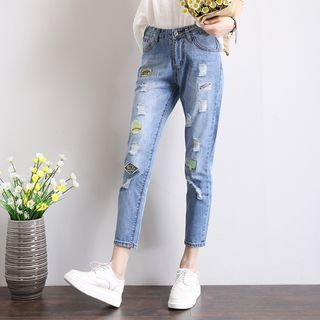Appliqu  Ripped Cropped Jeans from Denimot