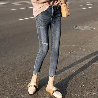 Cropped Ripped Skinny Jeans from Denimot