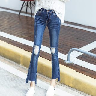 Distressed Boot Cut Jeans from Denimot
