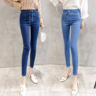 Lace-Up Cropped Skinny Jeans from Denimot
